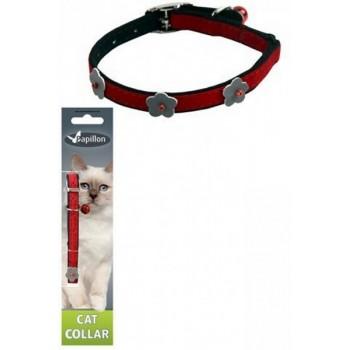Papillon / Папиллон Светоотражающий ошейник для кошек 10мм-28см, красный