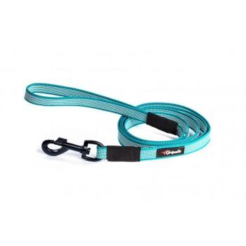 Gripalle / Грипэлле 20-200B 4879 Поводок нейлоновый прорезиненный для собак, черная стальная фурнитура 20 мм*200 см, Голубой