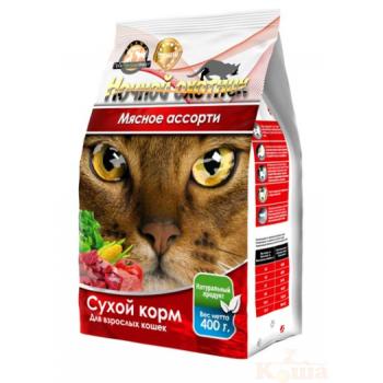 Ночной охотник сух корм 400г для кошек Мясное ассорти