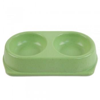 Bobo / Бобо Миска двойная, 25x14x4.5 см, 180+180 мл, зеленый