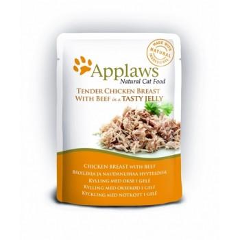 """Applaws / Эпплаус паучи для кошек """"Кусочки Курицы и Говядины в желе"""" 0,07 кг"""