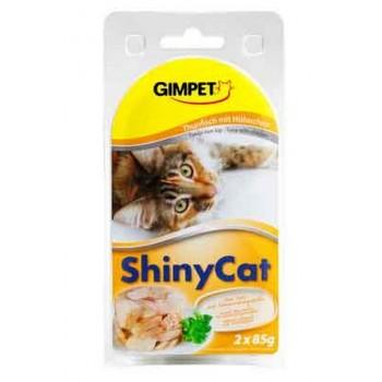 Gimpet / Гимпет Консервы Shiny Cat с тунцом и цыплёнком в блистере д/кошек, 2*85 г