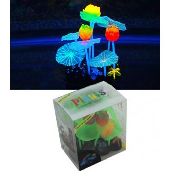 Jelly-Fish / Джелли-Фиш Микс из растений силикон (листья лотоса 6 шт, цветы лотоса 3 шт), 9*7*11 см