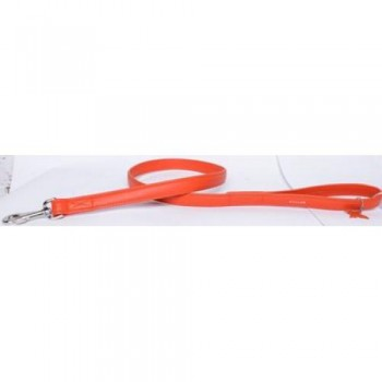 CoLLaR Glamour Поводок кожаный, двойной прошитый без украшений, 122см*25мм, оранжевый (33764)