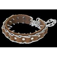 Зооник Ошейник строгий проволочный, сварная цепь 4мм с кожей 30-70 см.