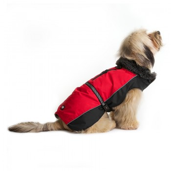Dog Gone Smart / Дог Гон Смарт Нано куртка зимняя с меховым воротником Aspen parka 25,4см, красный