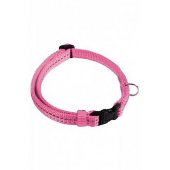 Papillon / Папиллон Светоотражающий ошейник, нейлон 20мм-35-50см, розовый