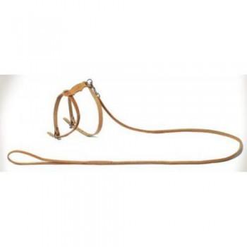 Аркон Комплект кожаный №2, цвет натуральный, к2, двухслойный прошитый поводок шириной 6мм + шлейка для кошек и маленьких собак (30848)