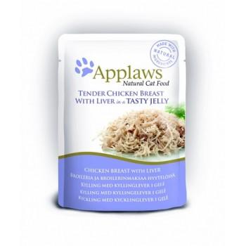 """Applaws / Эпплаус паучи для кошек """"Кусочки Курицы с Печенью в желе"""" 0,07 кг"""