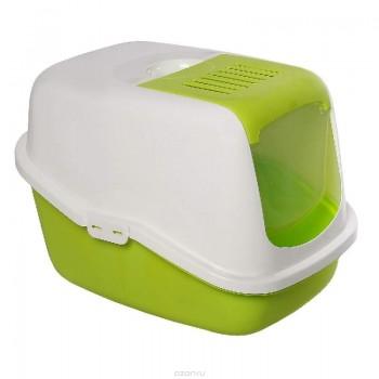 Savic / Савик Туалет для кошек NESTOR белый/зеленый-Лимон (закрытый) 56 х 39 х 38,5 см (1х4) 0227-ООWL