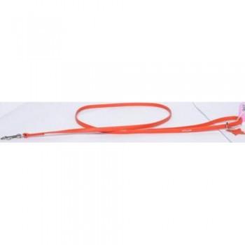 CoLLaR Glamour Поводок кожаный, двойной прошитый без украшений, 122см*9мм, оранжевый (33704)