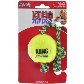 """Kong / Конг игрушка для собак Air """"Теннисный мяч"""" с канатом средний"""