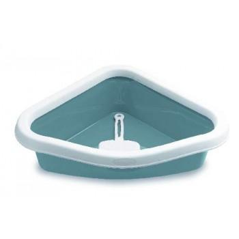 Stefanplast / Стефанпласт Туалет угловой Sprint Corner, с рамкой и совочком, синий, 40*56*14см