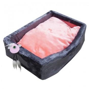Зооник Лежанка д/кошек с подушкой, мех одн.(570*410*170мм) серый