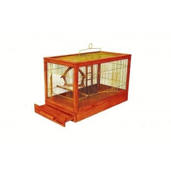 """Yami-Yami / Ями-Ями Клетка для птиц """"Под старину"""" средняя, деревянная, цвет клён, 56*30*35"""