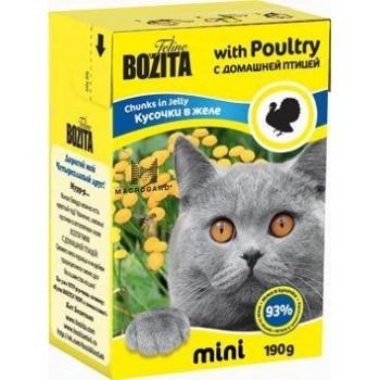 Bozita / Бозита MINI 2100 кон.д/кошек кусочки в желе с Домашней птицей 190г