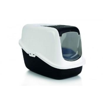 Savic / Савик Туалет для кошек NESTOR белый/черный (закрытый) 56 х 39 х 38,5 см(1х4) 0227-WZ