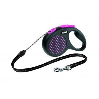 Рулетка Flexi Design M 5м*20кг (трос) розовый
