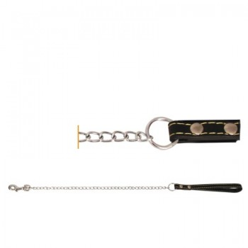 Triol / Триол Поводок-цепь SHL1611 с кожаной ручкой, 1,6*1100мм