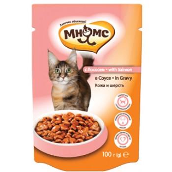 Мнямс паучи для взрослых кошек с лососем 100 г в соусе, Кожа и шерсть