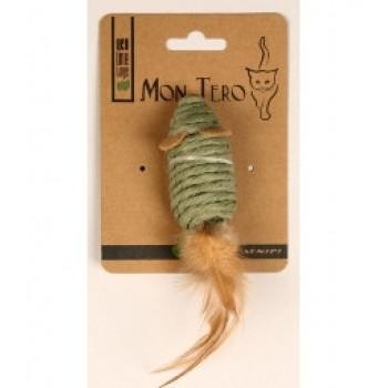 """Mon Tero / Мон Теро ЭКО игрушка для кошек""""Мышь"""" 7,6см с перьями, с кошач. мятой, зелёная"""