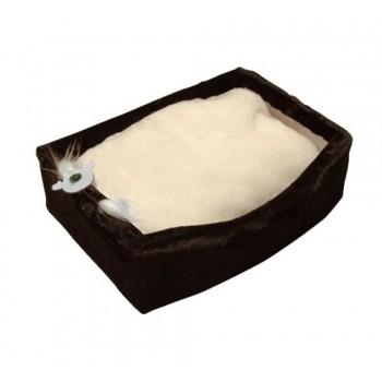 Зооник Лежанка д/кошек с подушкой, мех одн.(570*410*170мм) темно-коричневый