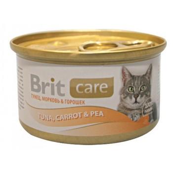 Brit / Брит Консервы д/кошек Brit Care Tuna,Carrot&Pea Тунец, морковь и горошек, 80г