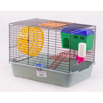 Клетка Вака 2-х ярусная комплект (домик и миска) 385х275х265см (18583)