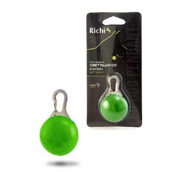 Richi / Ричи 17976 Кулон-LED зеленый на ошейник, 3 режима, CR2032 в компл