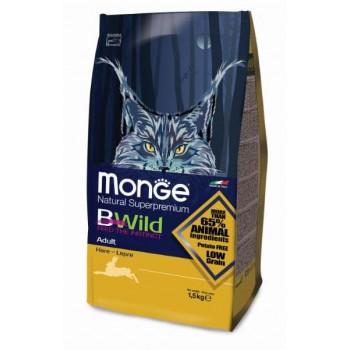Monge / Монж BWild Cat Hare корм для взрослых кошек с мясом зайца 1,5 кг