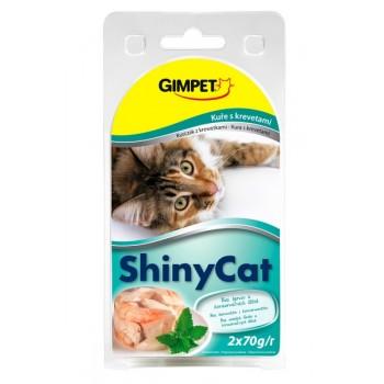 Gimpet / Гимпет Консервы Shiny Cat с цыплёнком и креветками в блистере д/кошек, 2*70г