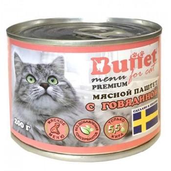 Buffet Мясной паштет для кошек с говядиной (ж/б 200г)