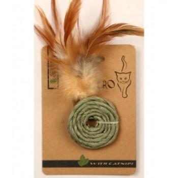 """Mon Tero / Мон Теро ЭКО игрушка для кошек """"Колечко с перьями"""", 5 см, с кошач.мятой, зелёное"""