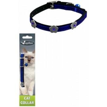 Papillon / Папиллон Светоотражающий ошейник для кошек 10мм-28см, синий