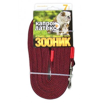 ЗООНИК Поводок капроновый с двойной латексной нитью 7м* 20мм, Красный
