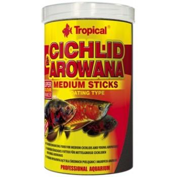 Tropical / Тропикал 635261/85916 корм для средних цихлид и арован красящий (палочки) Cichlid&Arowana Medium Sticks 1000мл/360гр
