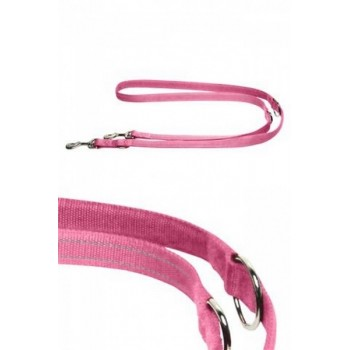 Papillon / Папиллон Светоотражающий тренировочный поводок 15мм-200см, розовый