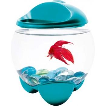 Tetra / Тетра Betta Bubble бирюзовый аквариум-шар для петушков с освещением 1,8 л