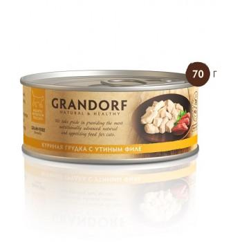 Grandorf / Грандорф консервы для кошек Куриная грудка с утиным филе 70 гр.
