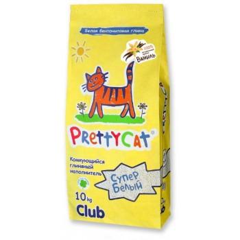 """PrettyCat Наполнитель комкующийся для кошачьих туалетов """"Супер белый"""" с ароматом ванили 10 кг"""