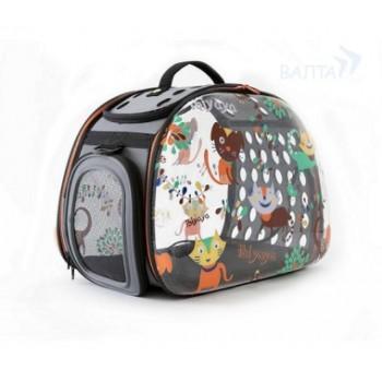 Ibbiyaya складная сумка-переноска для собак и кошек до 6 кг прозрачная дизайн Cats&Dogs