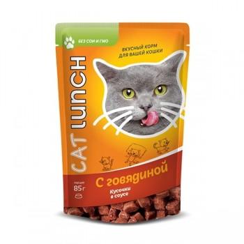Cat Lunch / Кэт Ланч Консервированный корм для кошек. Кусочки в соусе с говядиной 85 г.