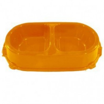 Favorite / Фаворит миска пластиковая двойная нескользящая 0,45л. оранжевая