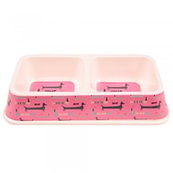 Bobo / Бобо Миска двойная, 25.5x13.5x4.5 см, 330+330 мл, розовый