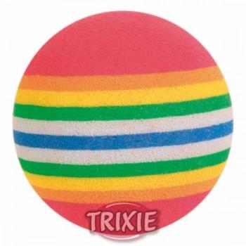 """Trixie / Трикси Набор игрушек д/кошек """"Мяч радужный"""", мягкая резина ф3,5см*4шт 4097"""