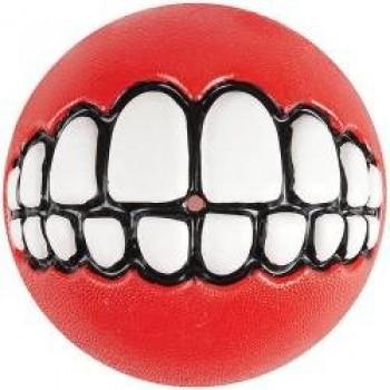 Rogz / Рогз Мяч с принтом зубы и отверстием для лакомств GRINZ средний, красный (GRINZ BALL MEDIUM)