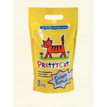 """PrettyCat Наполнитель комкующийся для кошачьих туалетов """"Супер белый"""" 2 л"""