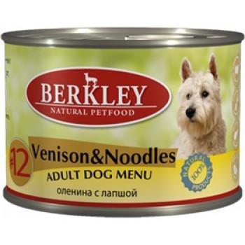 Berkley / Беркли кон. д/собак оленина с лапшой №12 200гр