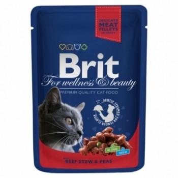 Brit / Брит Премиум пауч д/кошек Beef Stew &Peas Говядина и горошек, 100г