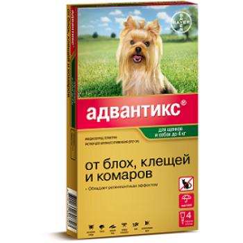 Адвантикс 40 с (Байер) для собак до 4 кг (4 пипетки х 0,4 мл)